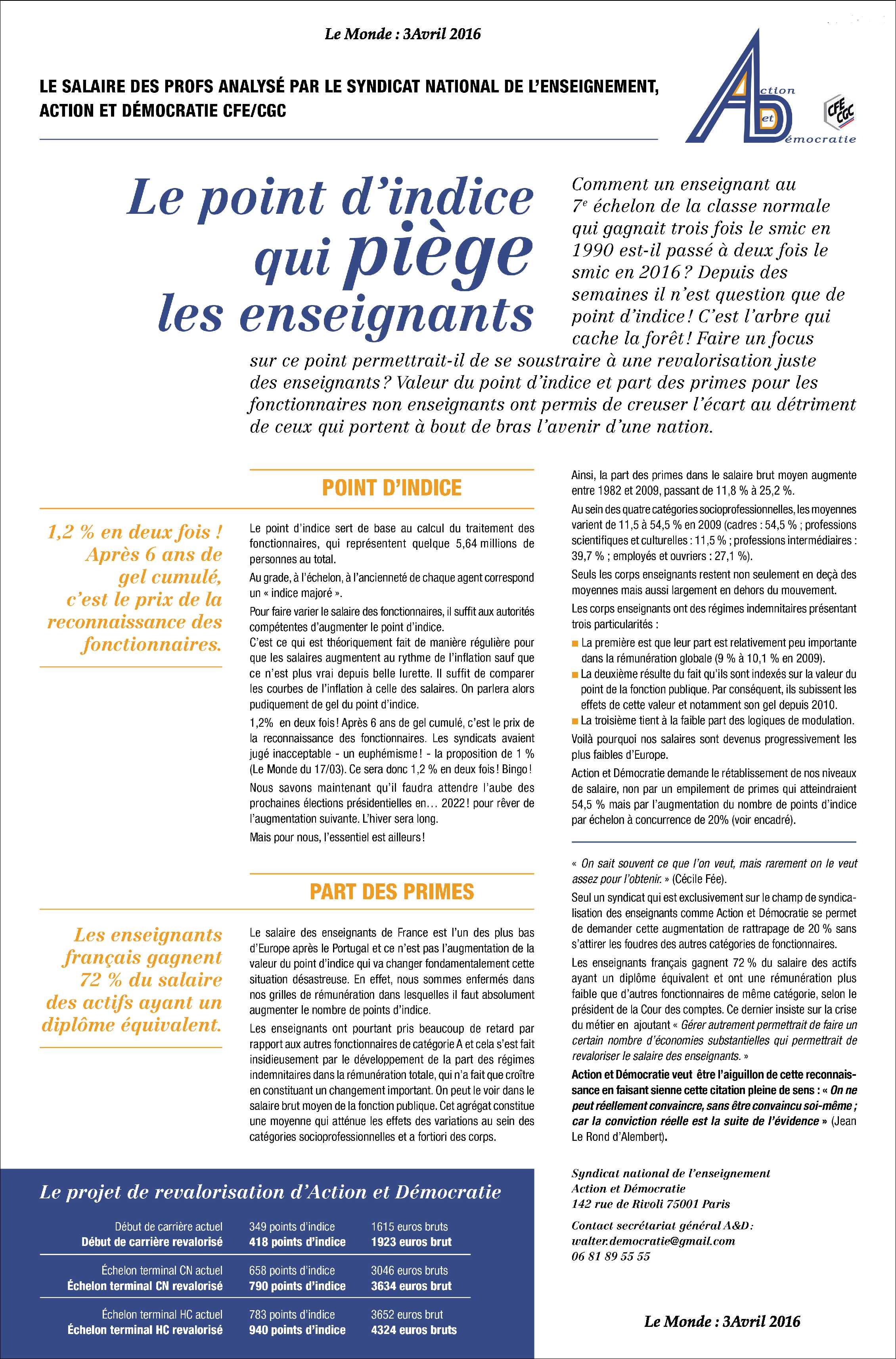 A et d s engage action et d mocratie cfe cgc - Grille indiciaire adjoint administratif principal ...